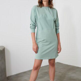 Světle mentolové mikinové šaty Trendyol