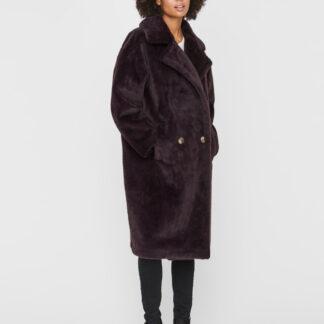 Tmavě hnědý kabát z umělého kožíšku VERO MODA