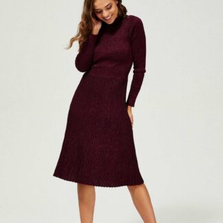 Moodo vínové žebrované šaty s metalickými vlákny