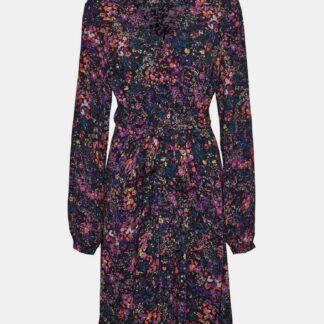 Modré květované šaty VERO MODA Wippa