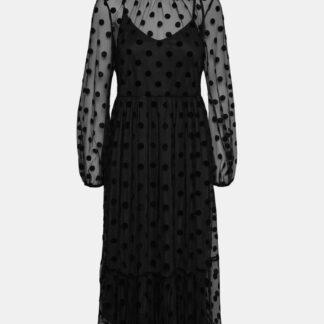 Černé šaty s průsvitnými rukávy VERO MODA Augusta