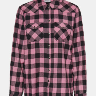 Růžová kostkovaná košile Noisy May Erik