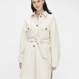 Krémový kabát Pieces Riema