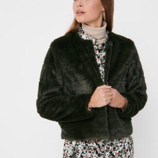 Tmavě zelená bunda z umělého kožíšku Jacqueline de Yong