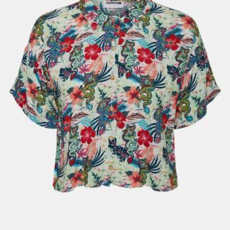 Noisy May modrá květovaná košile Chin