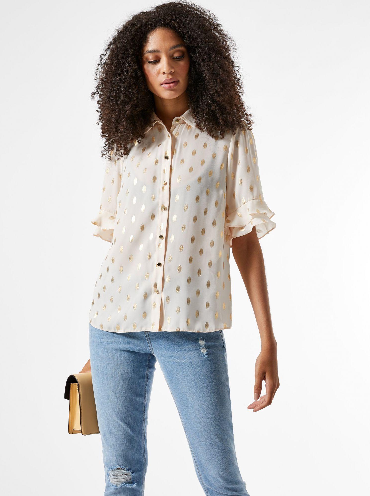Krémová puntíkovaná košile Dorothy Perkins