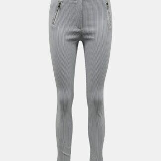 Světle šedé pruhované skinny fit kalhoty TALLY WEiJL