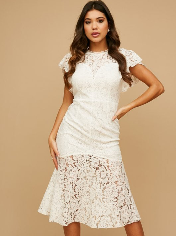 Bílé krajkové šaty Little Mistress