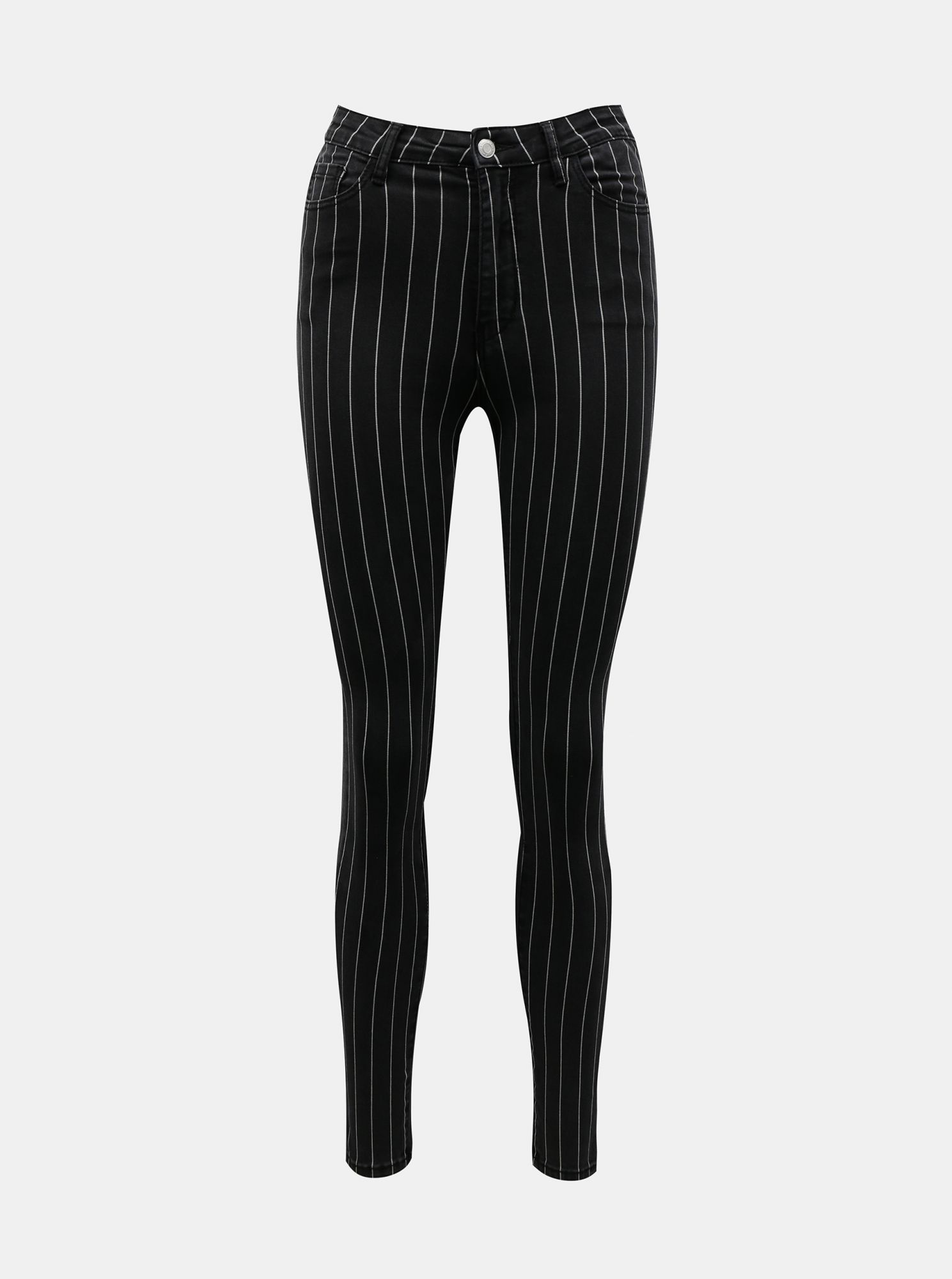Černé pruhované skinny fit kalhoty TALLY WEiJL