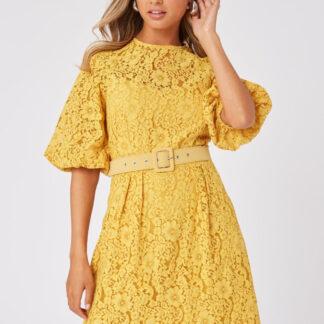 Žluté krajkové šaty Little Mistress