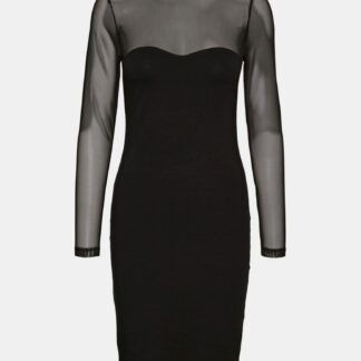 Černé pouzdrové šaty s průsvitnými rukávy VERO MODA Kayly
