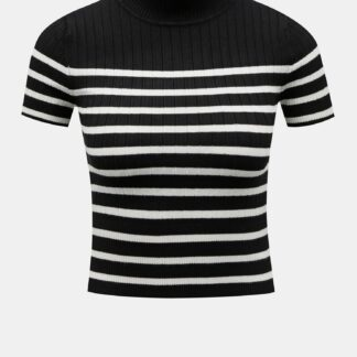 Černé pruhované krátké tričko TALLY WEiJL