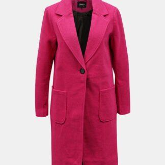 Růžový kabát s příměsí vlny ONLY Olivia