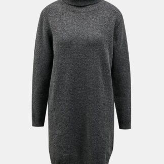 Tmavě šedé svetrové šaty s rolákem Jacqueline de Yong