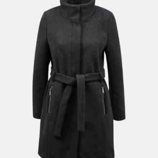 Tmavě šedý kabát s příměsí vlny ONLY Michigan