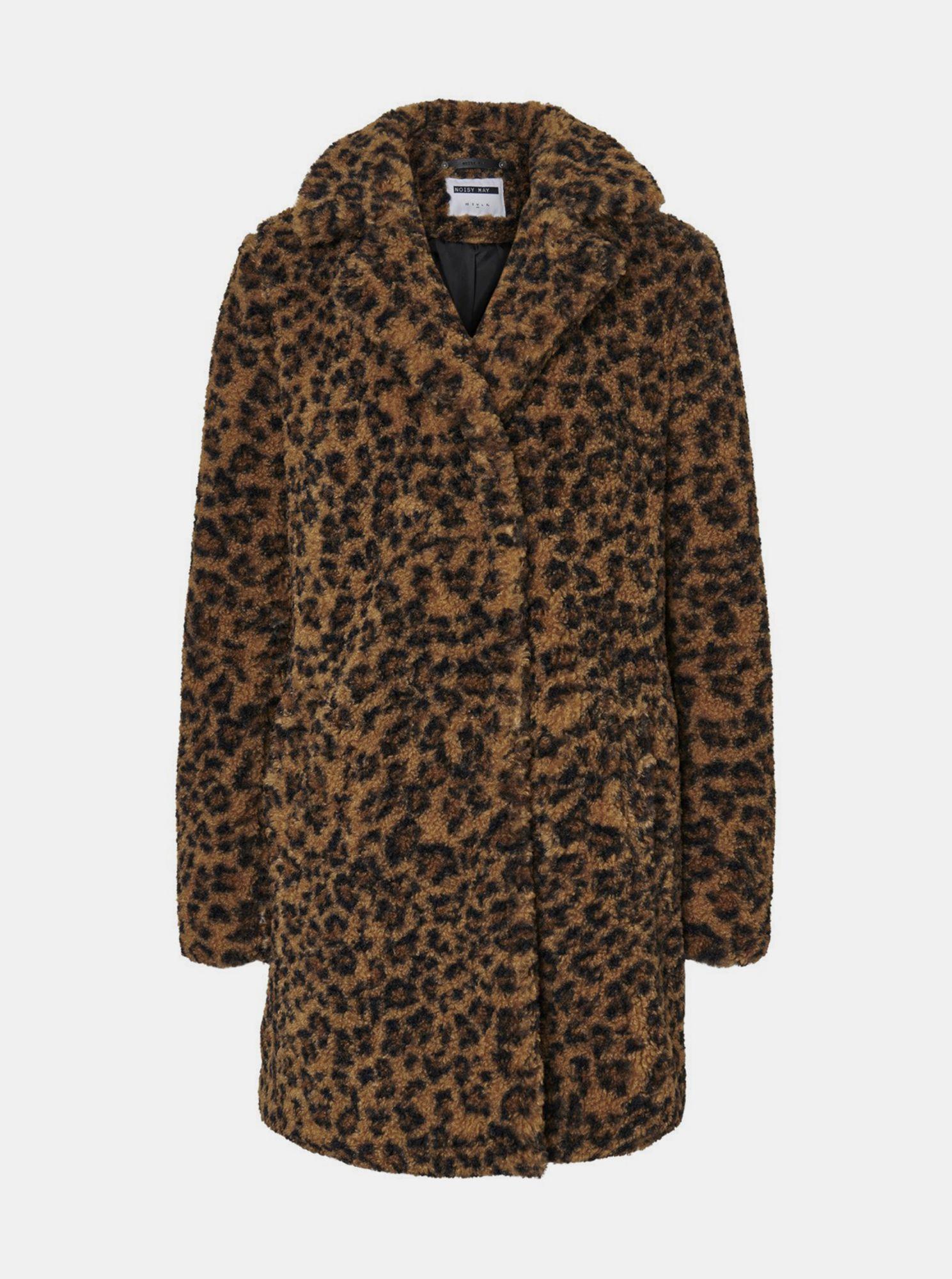 Hnědý vzorovaný kabát z umělého kožíšku Noisy May Gabi
