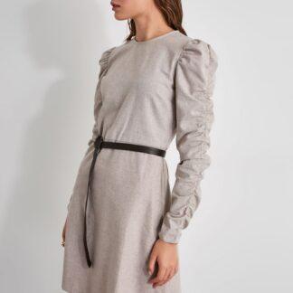 Béžové šaty s nařasenými rukávy Trendyol