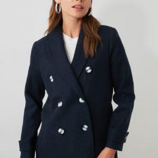 Tmavě modrý krátký kabát Trendyol