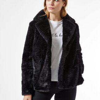 Černý krátký kabát z umělého kožíšku Dorothy Perkins