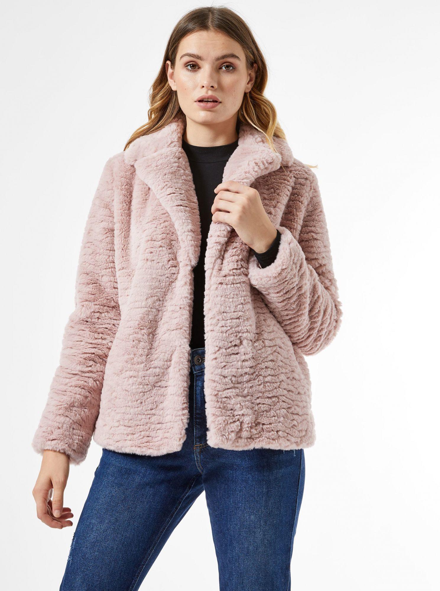Růžový krátký kabát z umělého kožíšku Dorothy Perkins