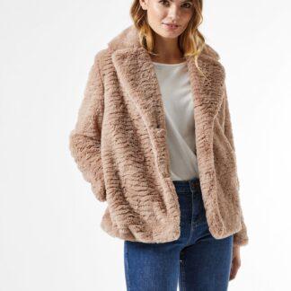 Světle hnědý krátký kabát z umělého kožíšku Dorothy Perkins