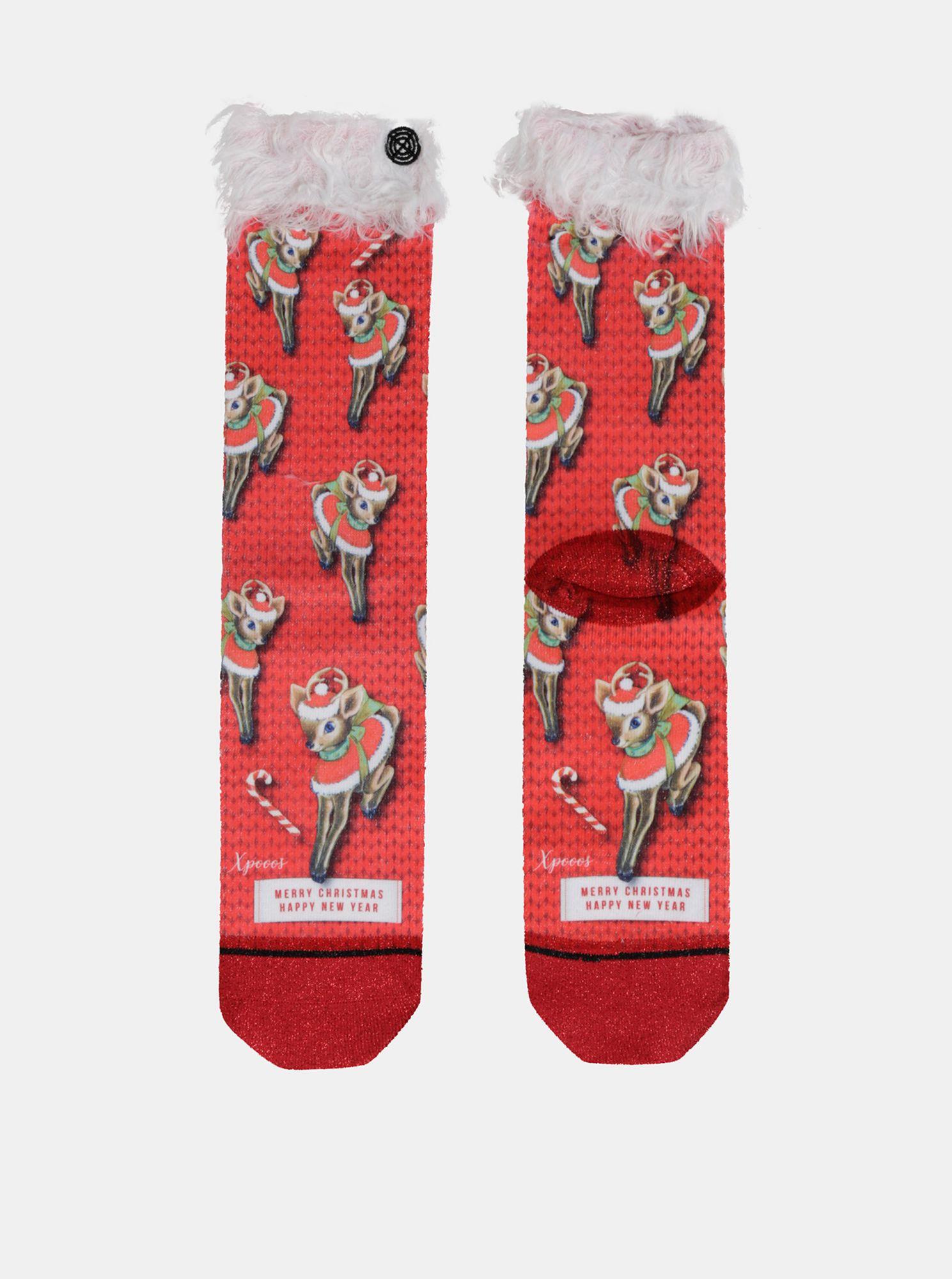 Červené dámské ponožky s vánočním motivem XPOOOS