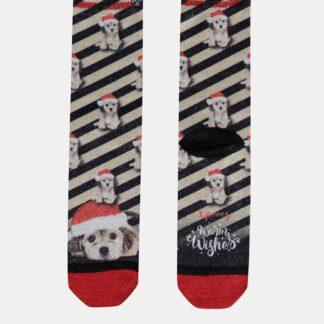 Černo-béžové ponožky s vánočním motivem XPOOOS
