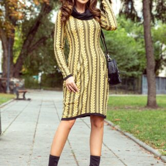 Černo-žluté vzorované šaty numoco