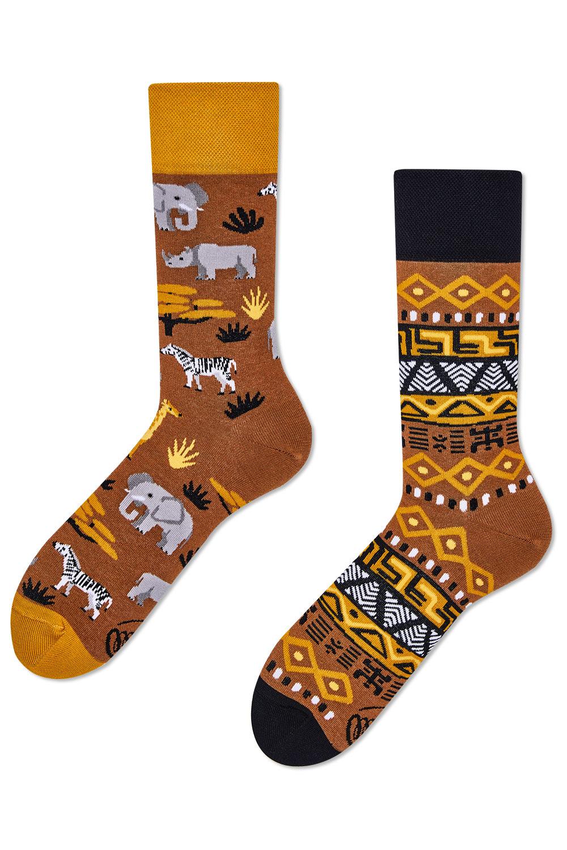 Many Mornings hnědé ponožky Safari Trip