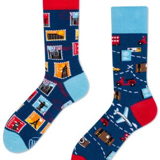 Many Mornings modré ponožky The Traveler