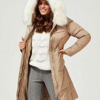 Moodo béžový kabát s kapucí