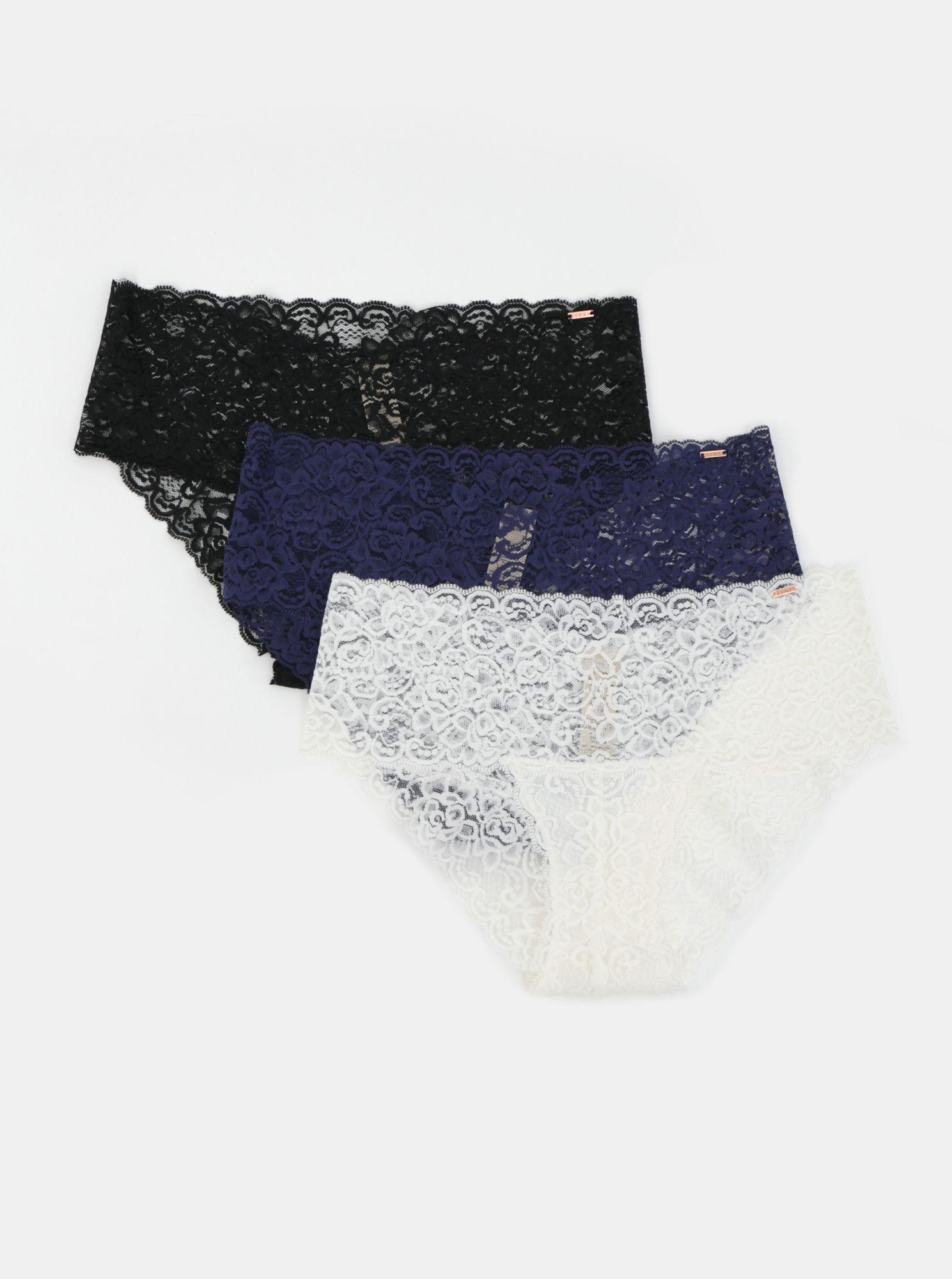 Sada tří krajkových kalhotek v černé, modré a bílé barvě DORINA