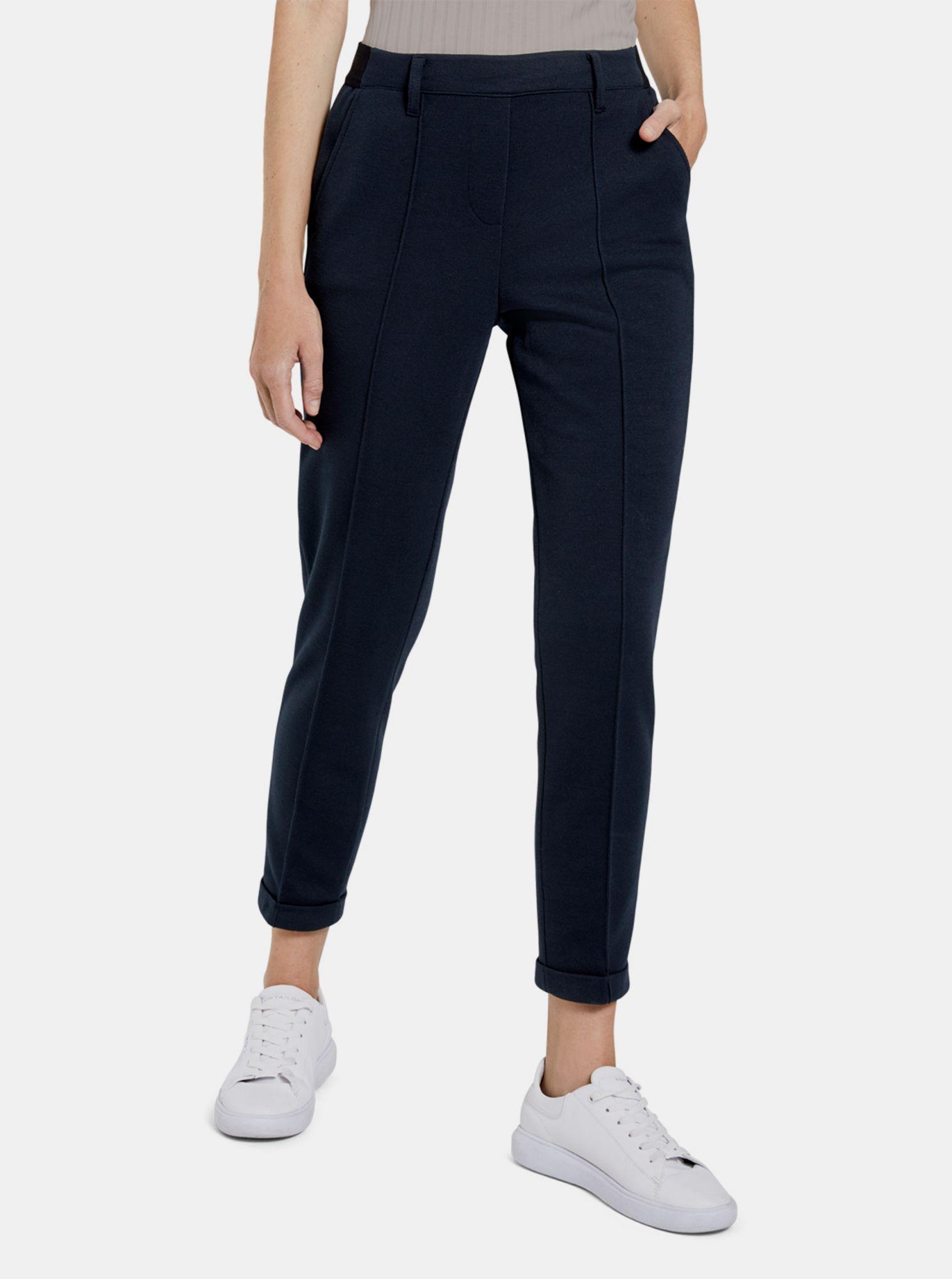 Tmavě modré dámské kalhoty Tom Tailor