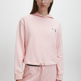 Calvin Klein pudrová mikina L/S Crop Hoodie s kapucí