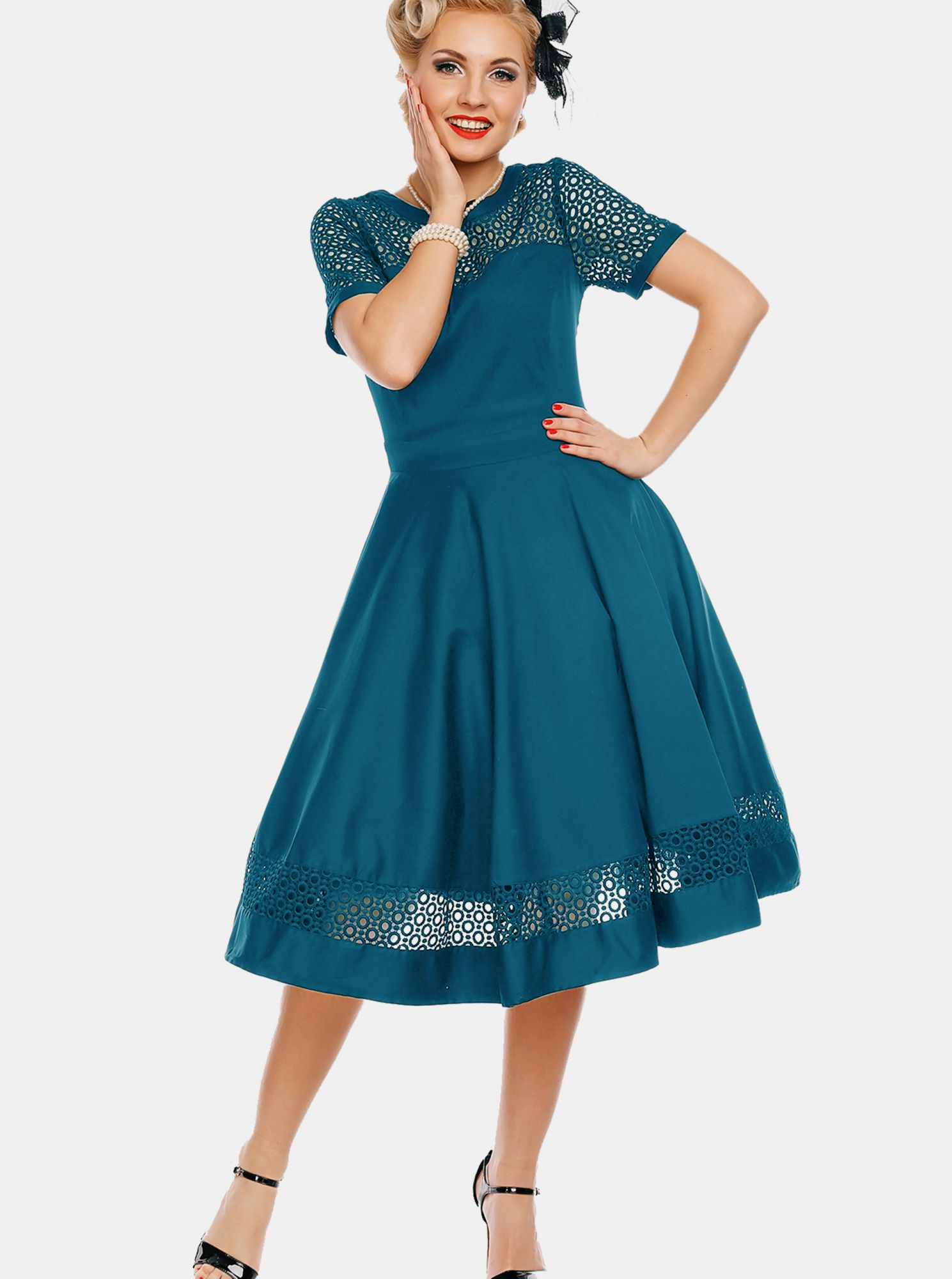 Modré šaty s ozdobným sedlem Dolly & Dotty