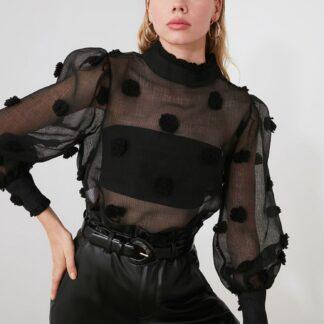 Černá průsvitná halenka Trendyol