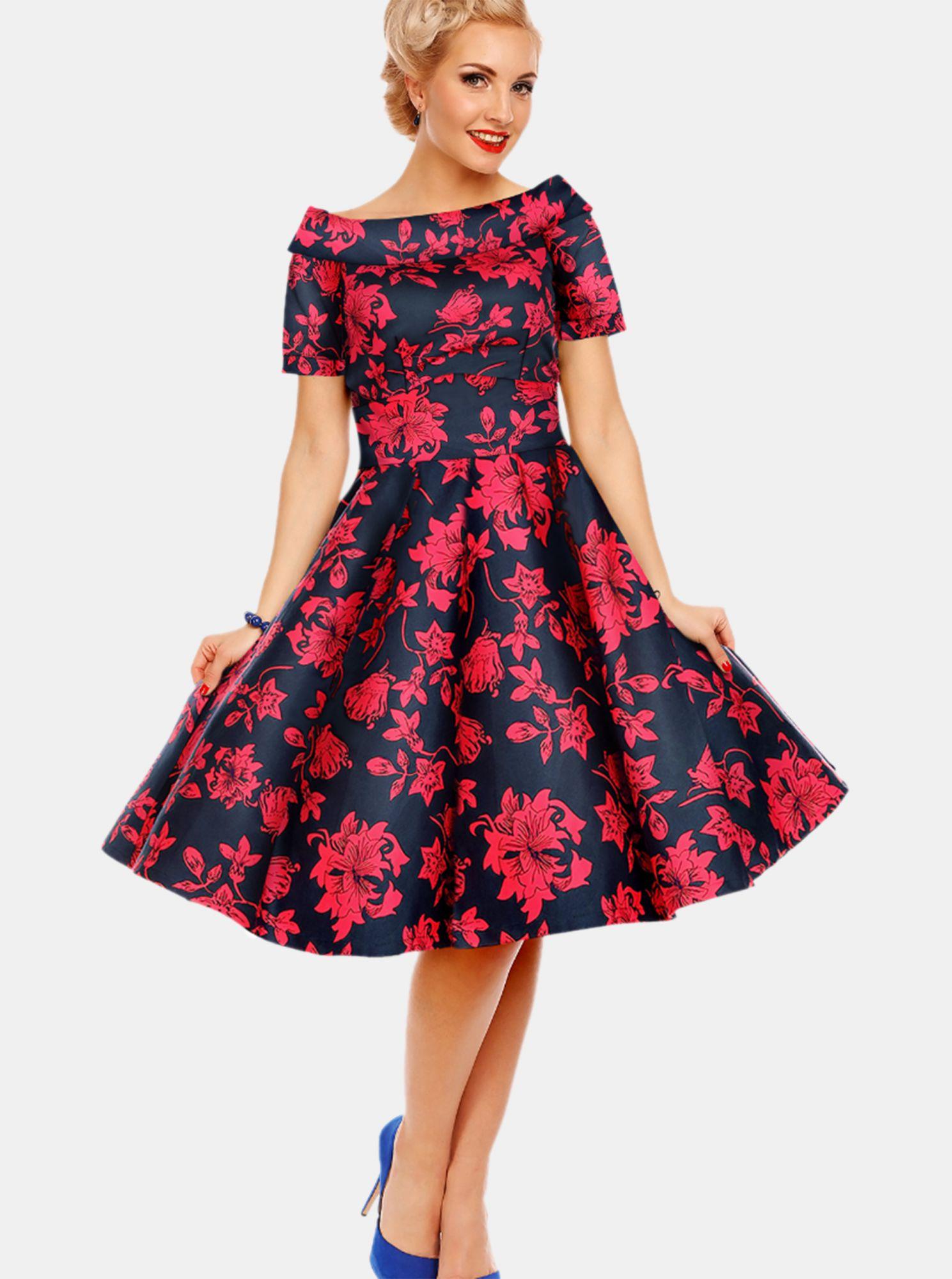 Růžovo-modré květované šaty Dolly & Dotty