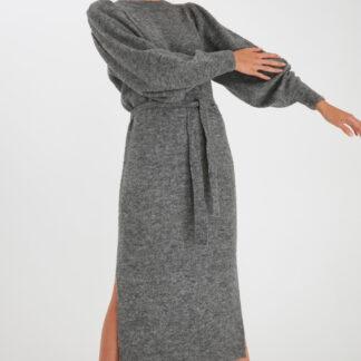 Ichi šedé svetrové šaty IhJordan DR Dark grey melang