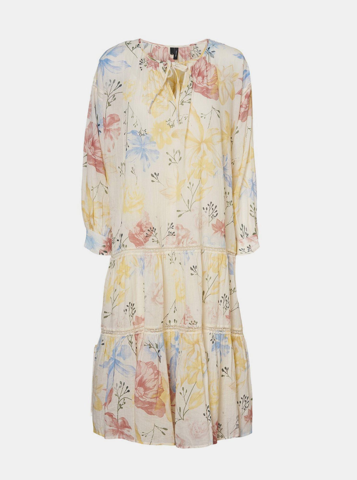 Krémové květované šaty VERO MODA Sally