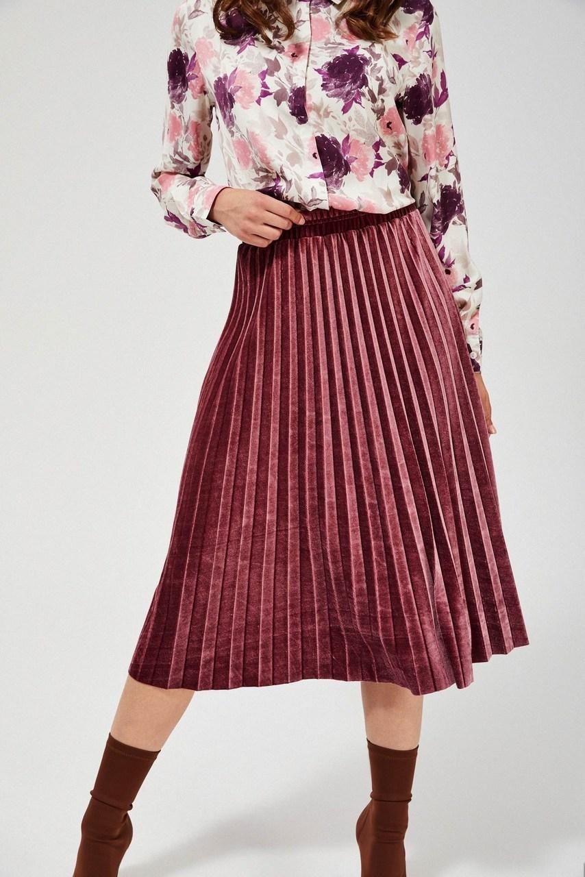 Moodo růžová sametová sukně pod kolena
