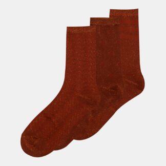 Sada tří párů hnědých ponožek ONLY Abarna