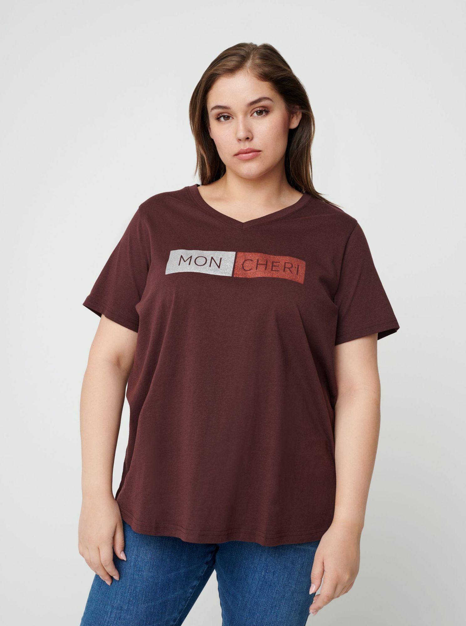 Zizzi vínové tričko s potiskem