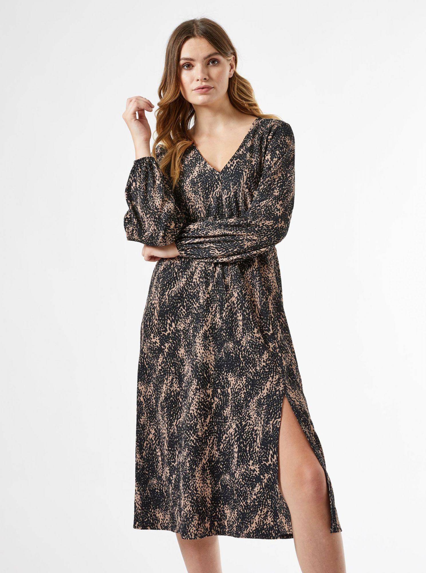 Černé vzorované šaty s rozparkem Dorothy Perkins