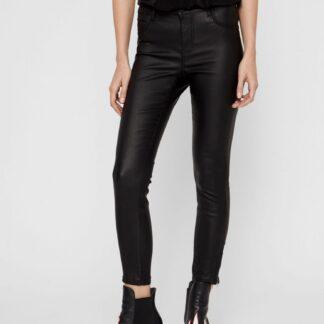 Černé koženkové skinny fit kalhoty Noisy May Kimmy