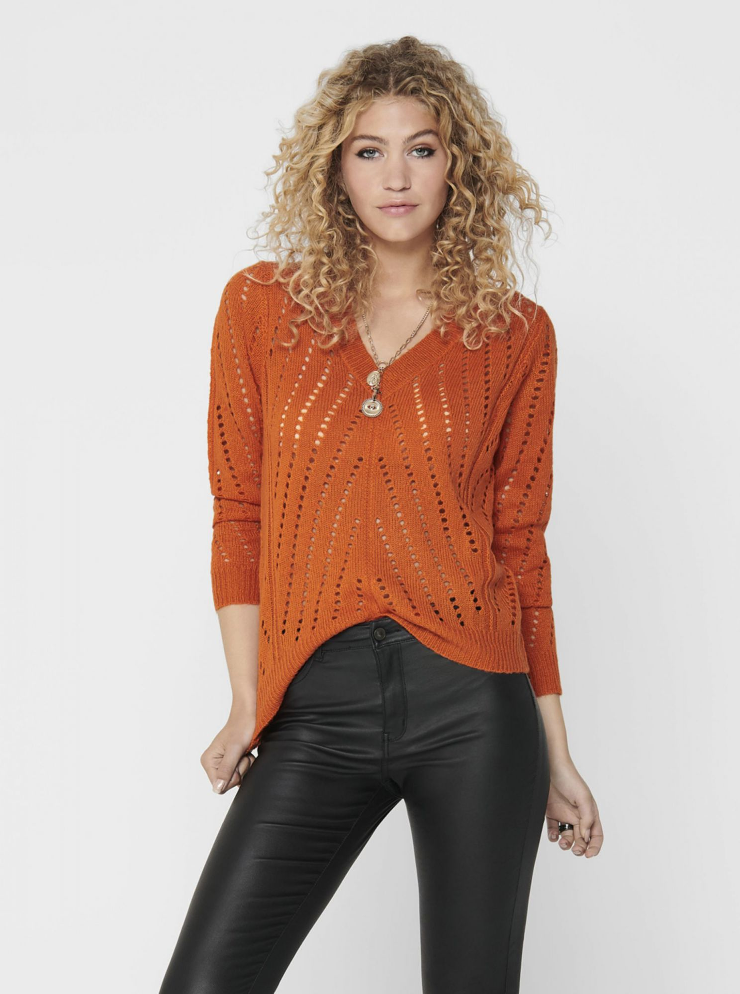 Oranžový svetr Jacqueline de Yong Kristen