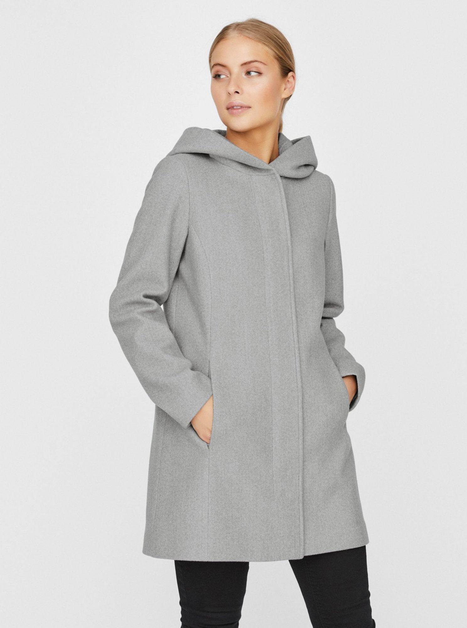 Šedý kabát s kapucí VERO MODA Dafne
