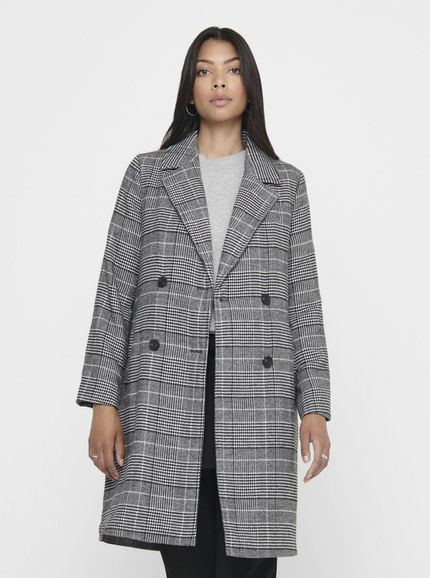 Šedý kostkovaný lehký kabát ONLY Arabella