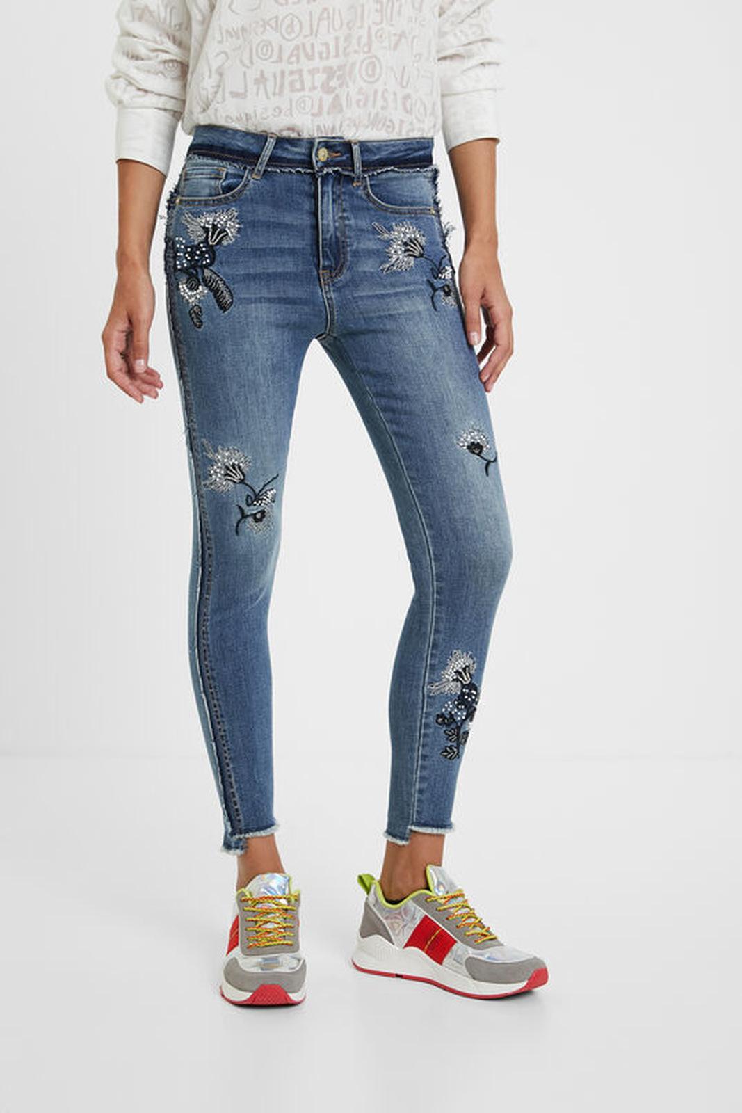 Desigual modré džíny Denim Miami Flowers
