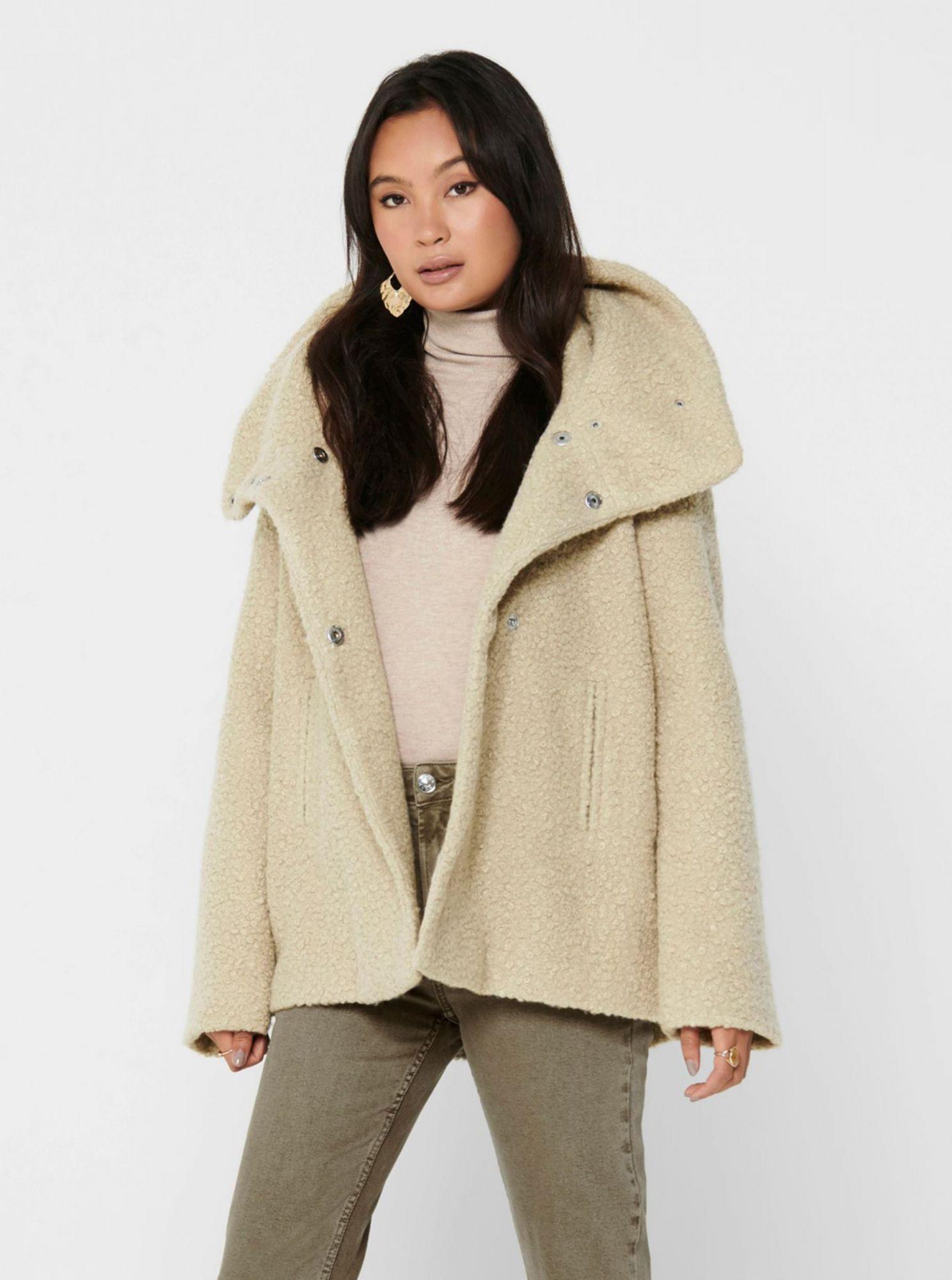 Krémový krátký kabát Jacqueline de Yong Sonya