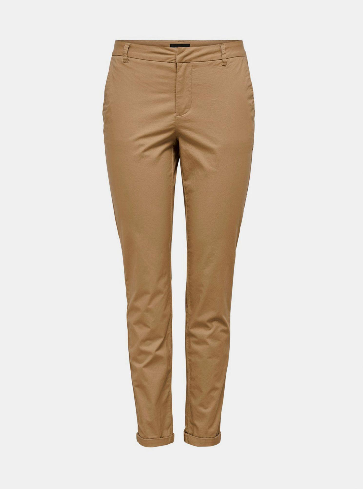 Světle hnědé chino kalhoty ONLY Biana